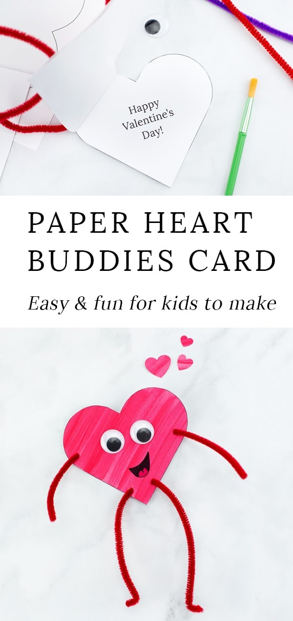 Looking for an easy Valentine's Day craft for kids? Colorful and fun Heart Buddies, made from our free template and basic craft supplies, are perfect for home or school! #valentinesday #crafts via @firefliesandmudpies