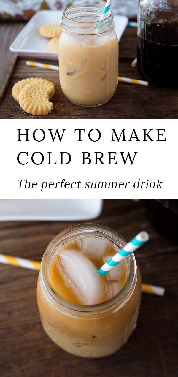Just in time for summer, learn how to make delicious coffee shop style Cold Brew Coffee right in your own kitchen. #coffeerecipes #coldbrewcoffee #drinkrecipes #coffee #summerdrinks