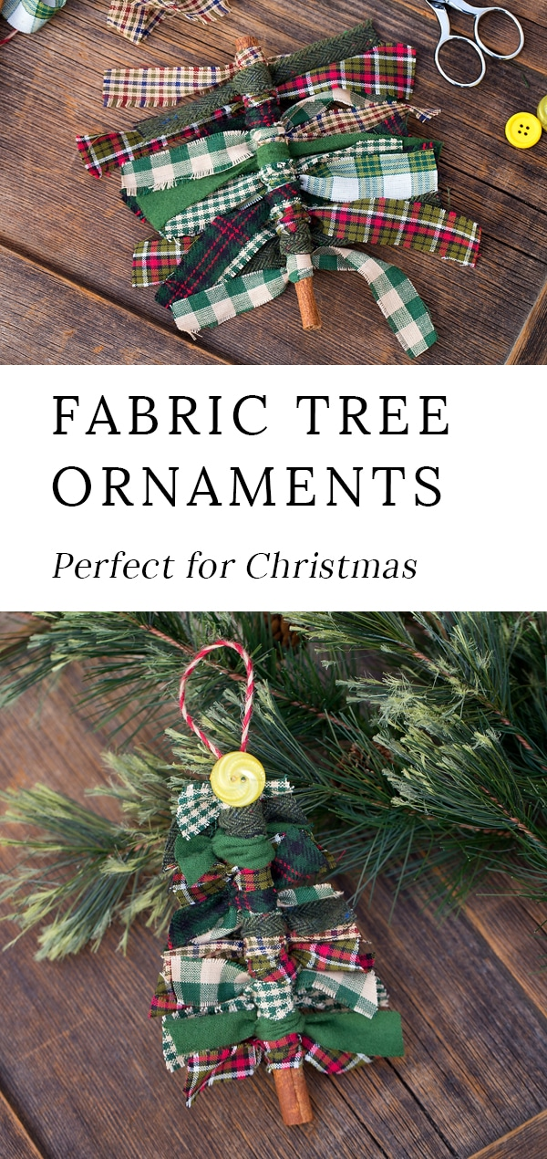 Just in time for Christmas, learn how to make Primitive Scrap Fabric Tree Ornaments from fabric remnants, cinnamon sticks, and buttons. This DIY is an easy and fun Christmas craft for kids. #christmas #ornaments #kids via @firefliesandmudpies