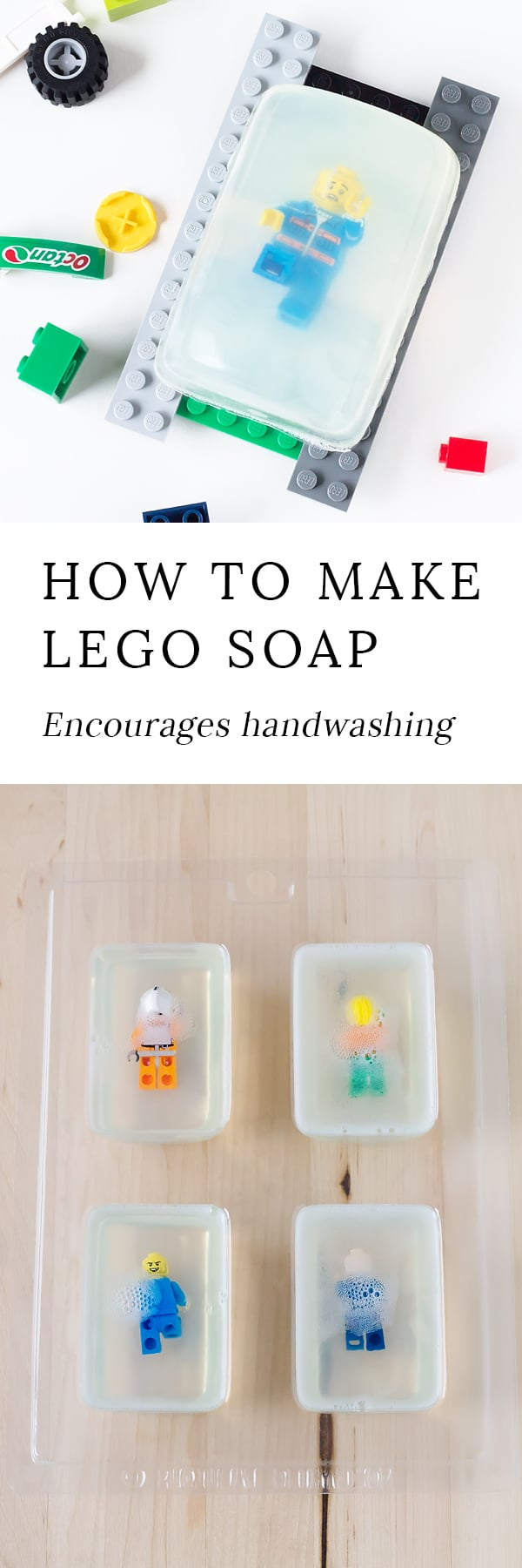 DIY LEGO Rescue Soap, created from clear glycerin melt and pour soap and LEGO Minifigures will get your kids back into healthy handwashing habits.