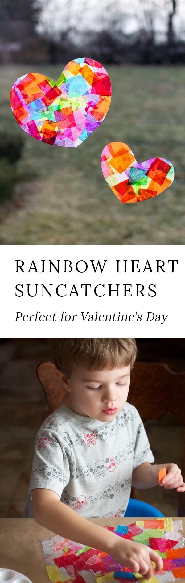 Crafters of all ages will enjoy learning how to make gorgeous Rainbow Heart Suncatchers with tissue paper and glue, perfect for Valentine's Day! #heartsuncatchers #valentinesdaycrafts #rainbowheartsuncatchers #tissuepapercrafts #suncatchercrafts #easycraftsforkids #preschoolcrafts #heartcrafts #rainbowcrafts #heartcraftideas