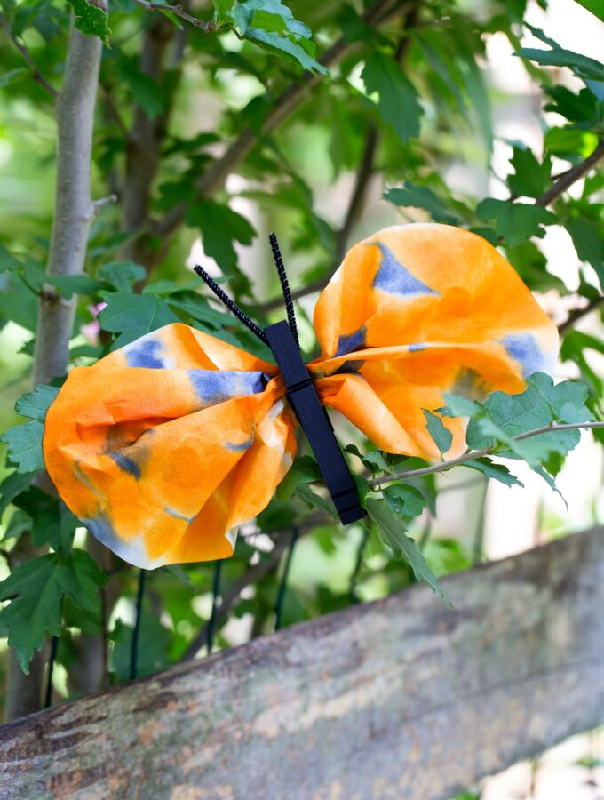 How to Make a Clothespin and Watercolor Monarch Butterfly