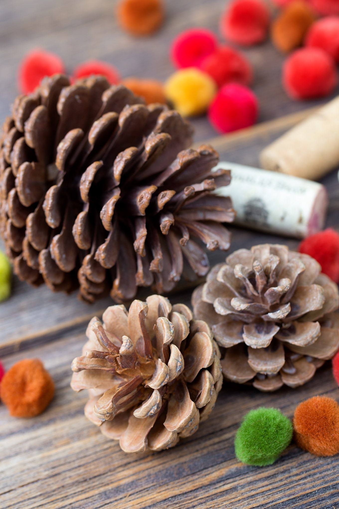how to make a colorful fall pine cone tree