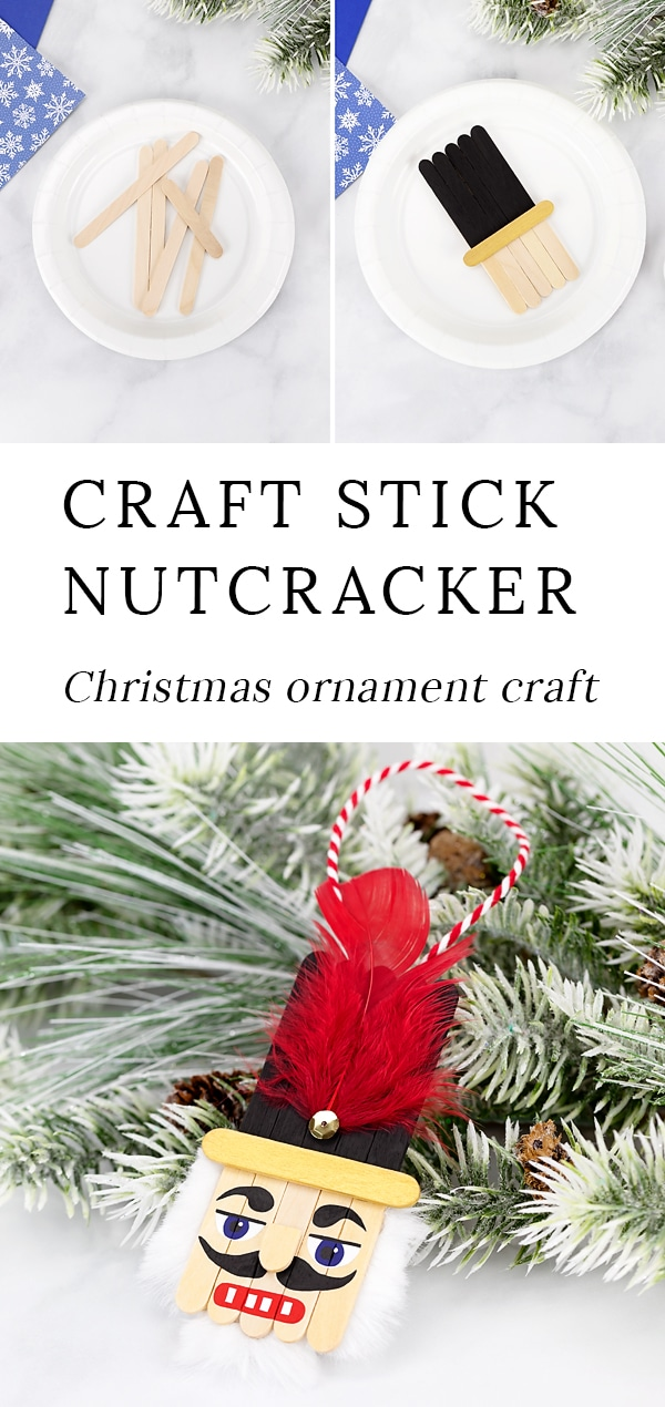 Christmas is the perfect holiday for nutcracker decorations! Made with craft sticks, paint, and basic craft supplies, this easy and fun wooden popsicle stick nutcracker ornament is a fun holiday keepsake for kids and adults to make. #nutcracker #ornament via @firefliesandmudpies