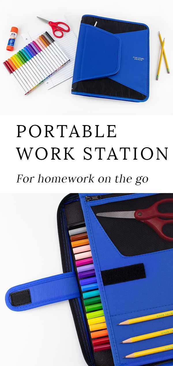 Is your family always on the go? Learn how to set up an inexpensive portable homework station for kids. It's perfect for waiting rooms, daycare, road trips, and more! #homeworkstation #backtoschool #portablehomeworkstation #elementaryschool #studytips #homework #socialemotionallearning #education #studyskills #parenting #kidsactivities
