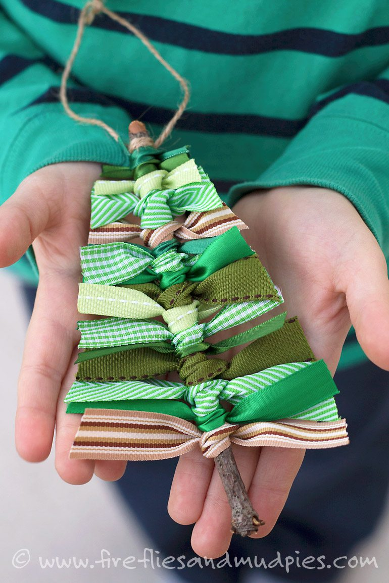 Scrap Ribbon Tree Ornament for Kids | Fireflies and Mud Pies