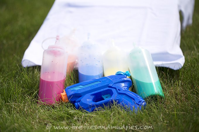 Squirt Gun Tie-Dye! Kids of all ages will enjoy using squirt guns to create vibrant, tie dyed shirts!