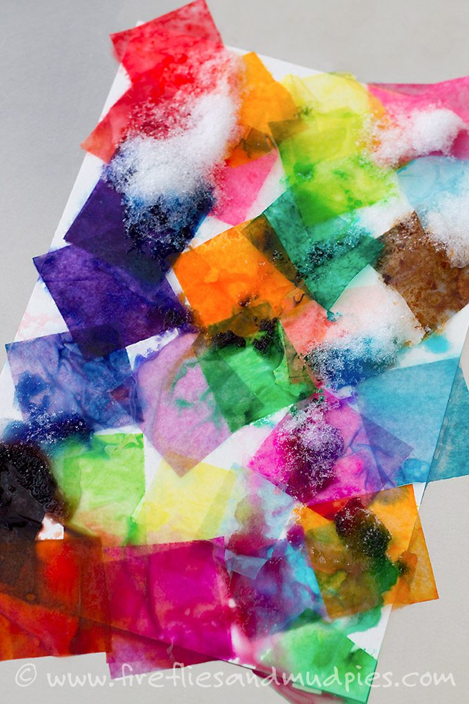 Snow Covered Tissue Paper creates beautiful water color art! | Fireflies and Mud Pies