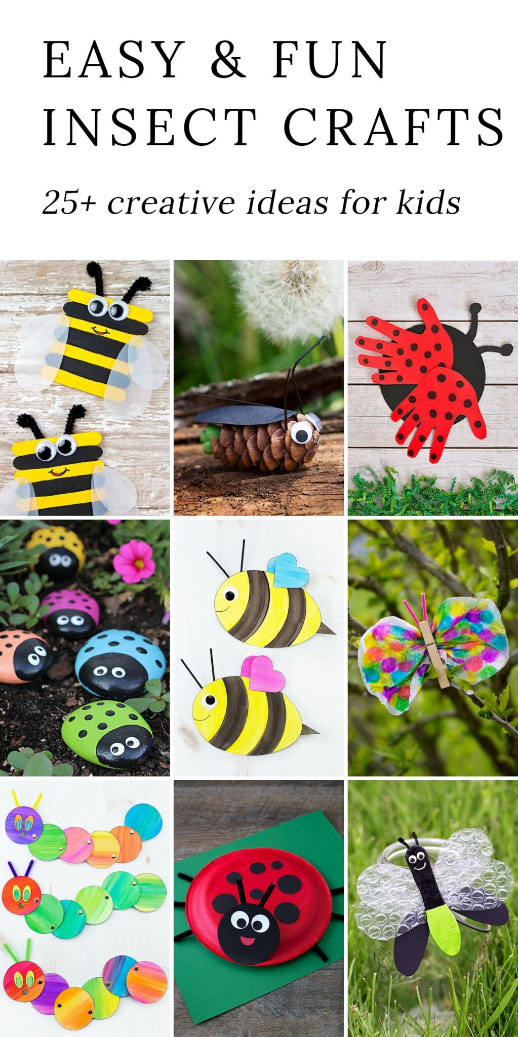 Discover 25+ easy and fun insect crafts that are perfect for summer camp, garden or insect-themed birthday parties, or just as a relaxing, crafty way to bond with your child at home. #insectcrafts #bugcrafts #summercrafts via @firefliesandmudpies