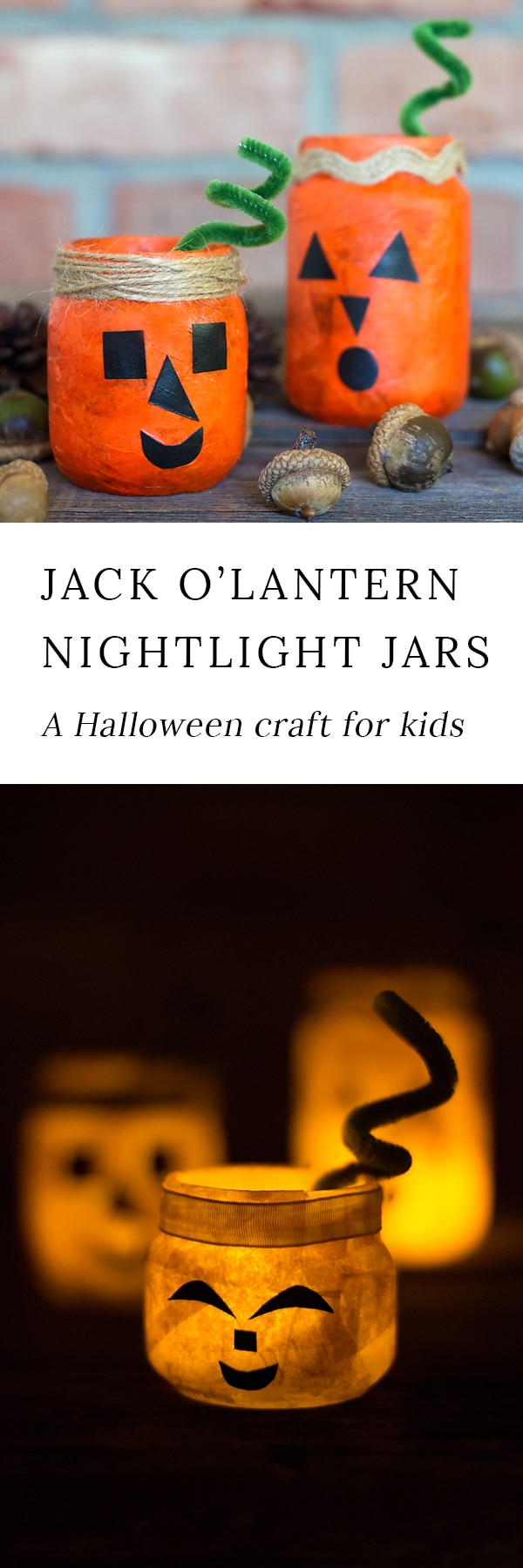 Kids of all ages will love creating a colorful and fun Jack O'Lantern Nightlight Jar for Halloween. This glowing Halloween craft is perfect for school or home.