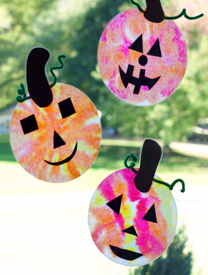 Adorable Coffee Filter Jack O'Lantern Suncatchers