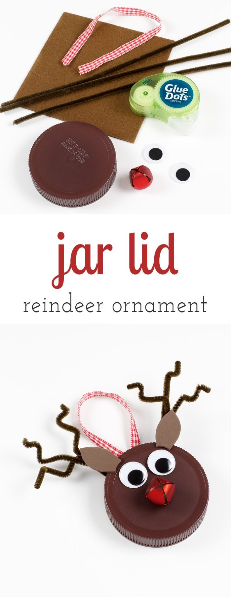 Kids of all ages will enjoy using old jar lids to create upcycled festive Reindeer Ornaments. The perfect Christmas craft for kids!