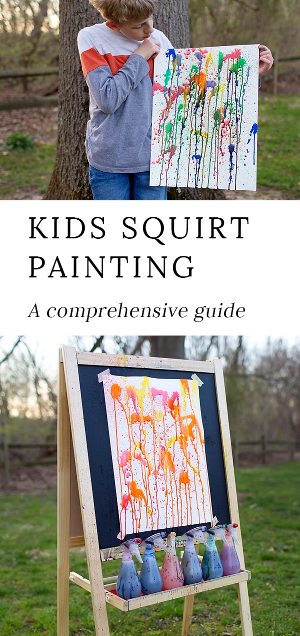 Everything you need to know about squirt painting; a fun, vibrant, and exciting art project for creative kids, teens, and adults. #squirtpainting #squirtgunpainting #squirtgunart #squirtbottlepainting #summercrafts #easykidscrafts #kidsartprojects #kidsart via @firefliesandmudpies