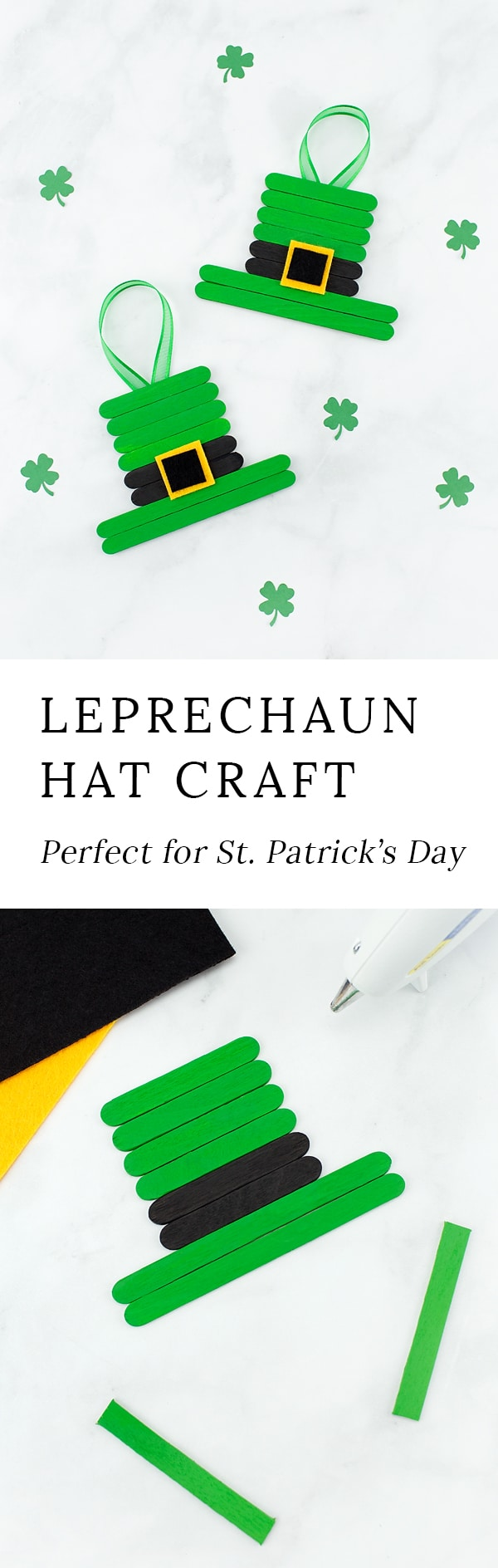 This unique and easy Leprechaun Hat craft, created from popsicle sticks, paint, and felt, is perfect for celebrating St. Patrick's Day with kids!