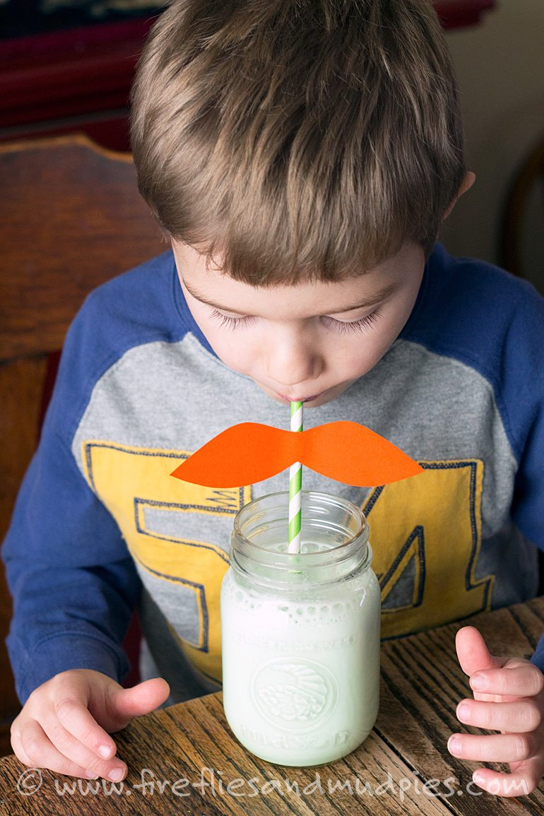 Leprechaun Mustache Straws | Fireflies and Mud Pies