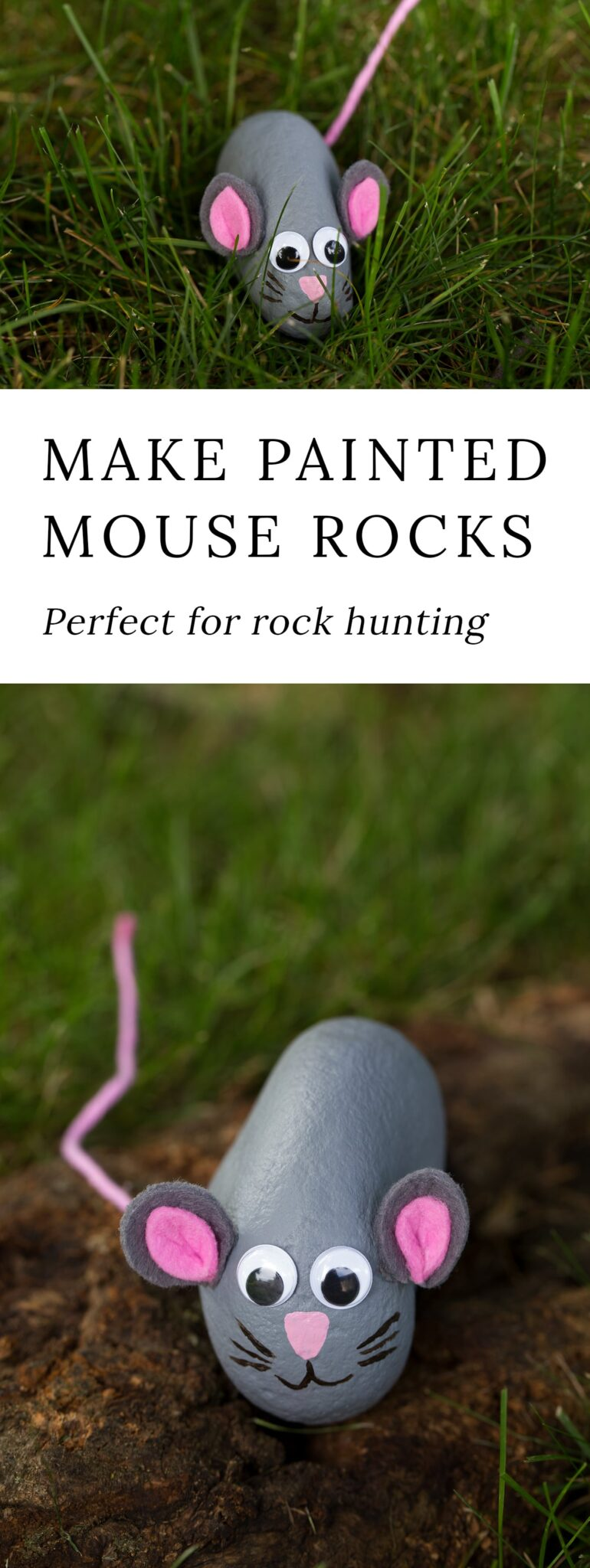 If your family has caught the rock hunting bug, you will love making a painted rock mouse. This fun painted rock craft is perfect for kids!