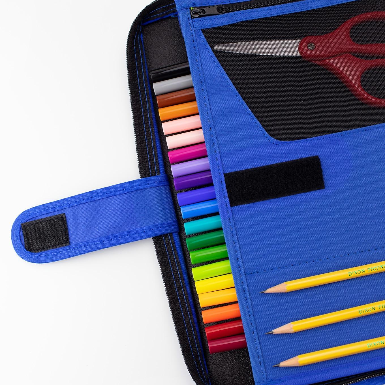 Blue Binder Filled with School Supplies