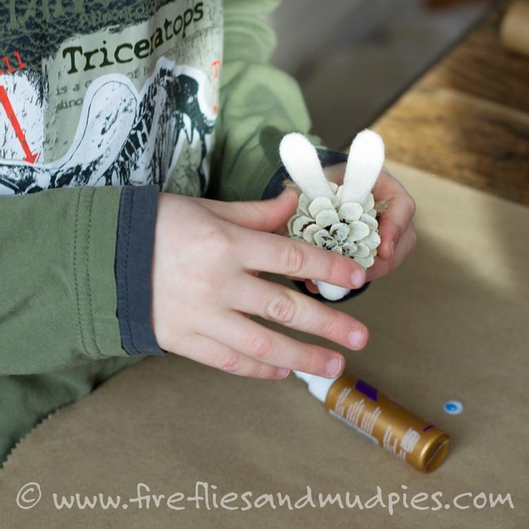 Making Pine Cone Bunnies for Spring | Fireflies and Mud Pies