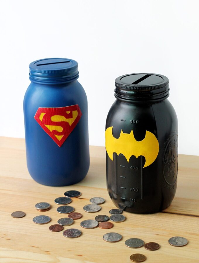 Saving Weekly Allowance with Mason Jar Superhero Banks
