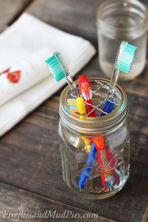 Mason Jar Toothbrush Holder | Fireflies and Mud Pies