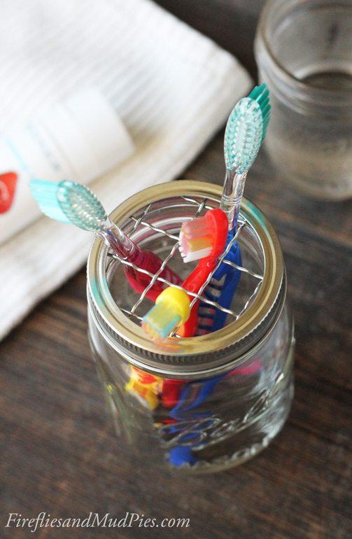 Mason Jar Toothbrush Holder | Fireflies and Mud Pies
