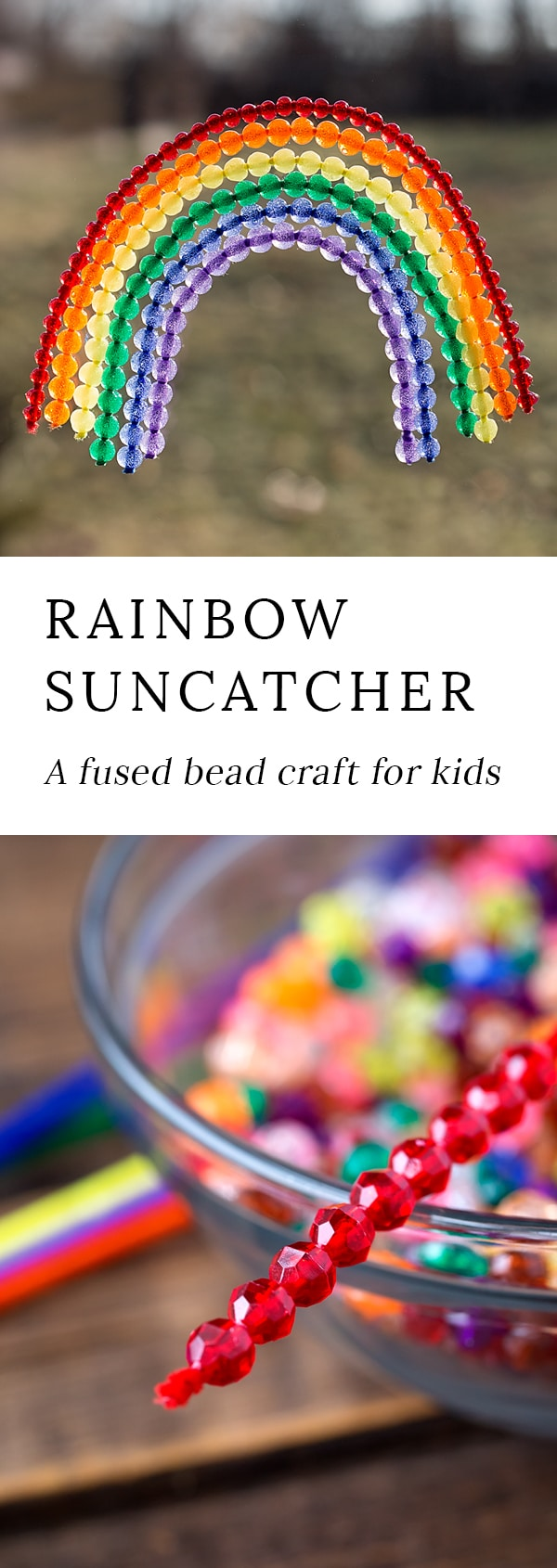 Fused Bead Rainbow Suncatchers are a vibrant fine-motor craft, perfect for teaching preschoolers colors and celebrating spring!