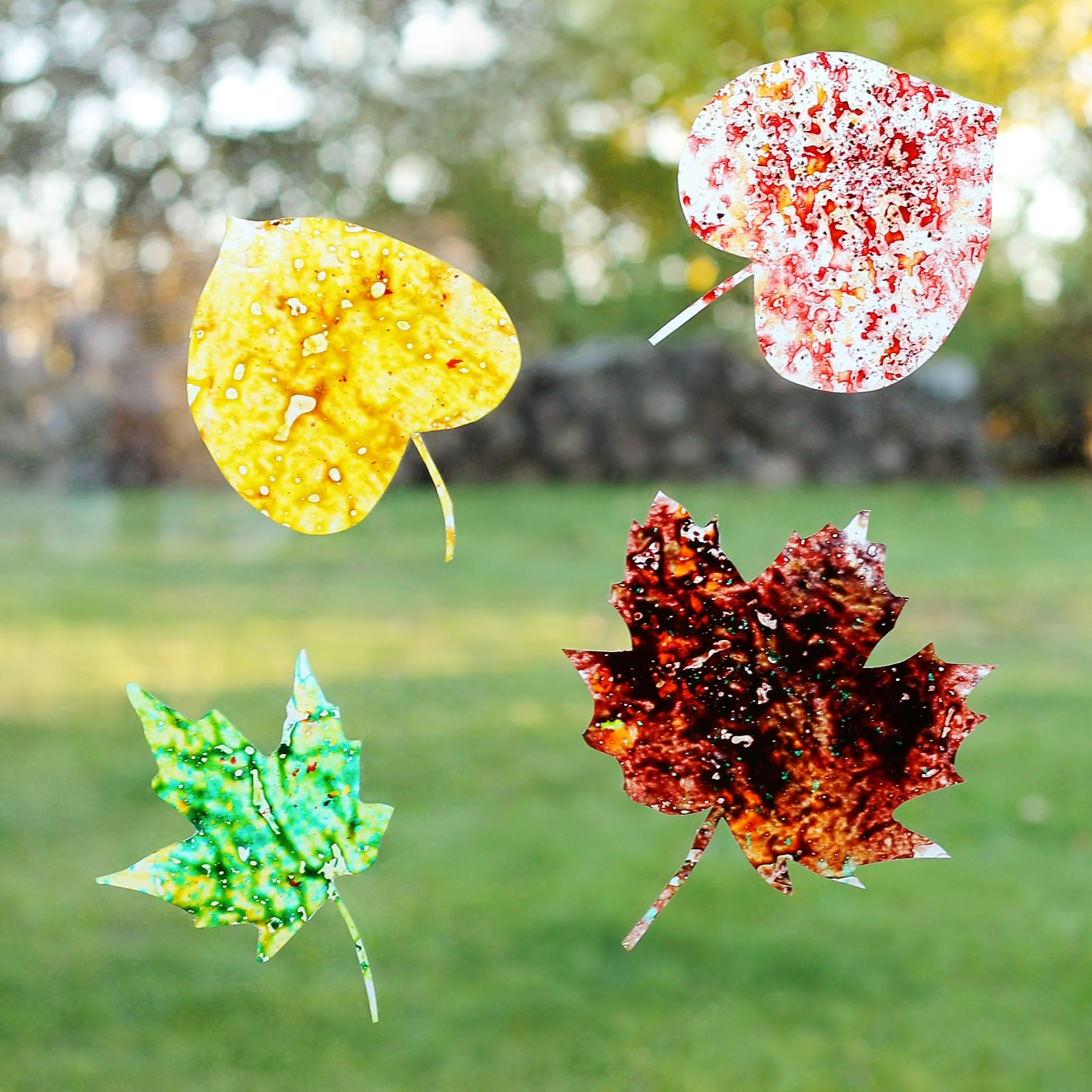 Melted Crayon Leaf Suncatchers