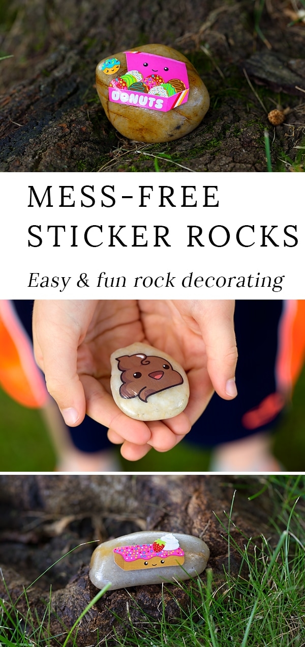 Do you love decorating rocks with your kids, but dread cleaning up the mess? If so, these mess-free sticker rocks are for you. Perfect for rock hunting! #rockdecorating #rockpaintingideas #rockhunting #stickercrafts #rockcrafts #naturecrafts #summercrafts #easycraftsforkids #messfreecraftsforkids