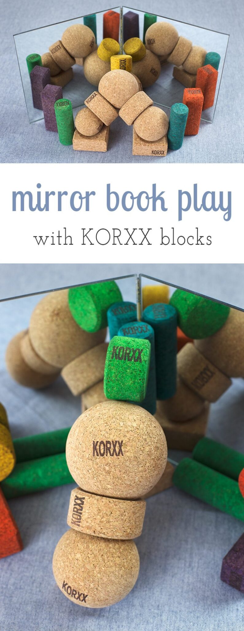 Through the use of mirror books and KORXX Blocks, kids can freely explore symmetry, design, and reflections. Sponsored by #korxx