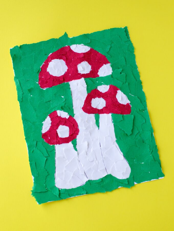 Torn Construction Paper Mosaic Mushroom Art