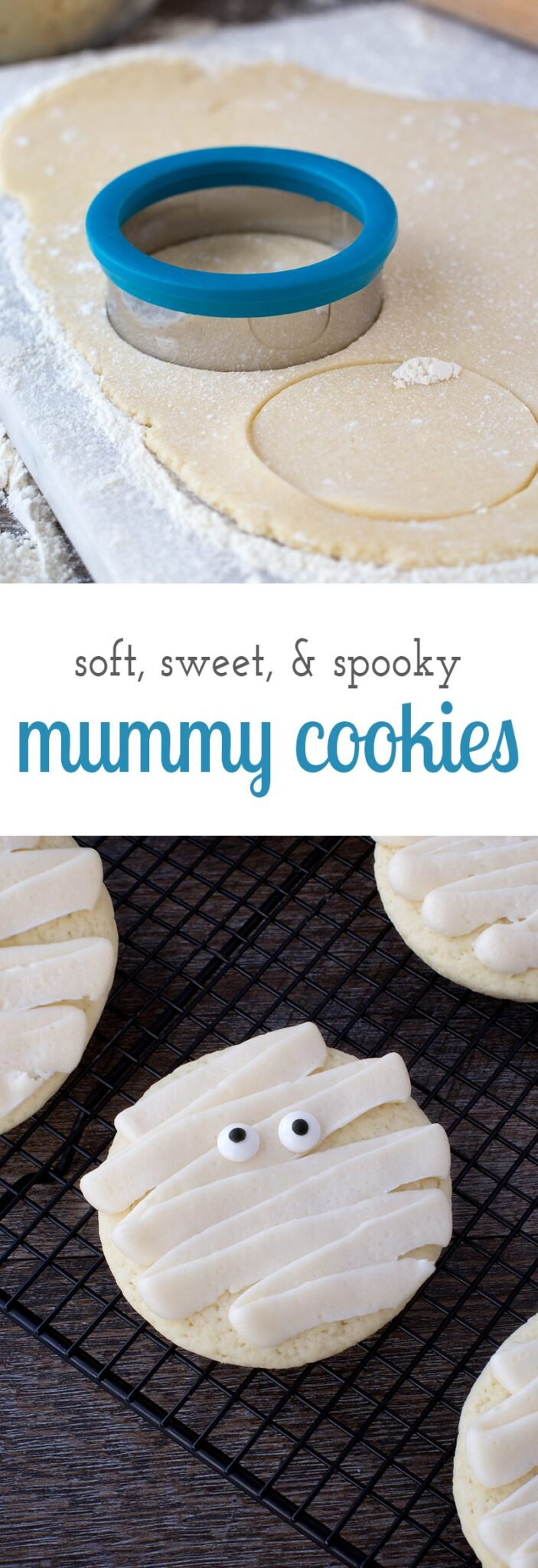 These delicious homemade Halloween Mummy Cookies are sure to add plenty of spooky fun to your child's lunchbox, school party, or after-school snack. They are soft, creamy, and guaranteed to delight children of all ages!