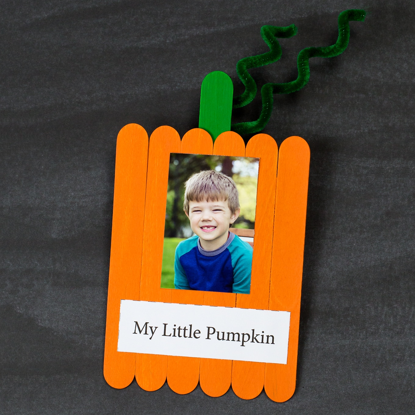 popsicle stick pumpkin with photo