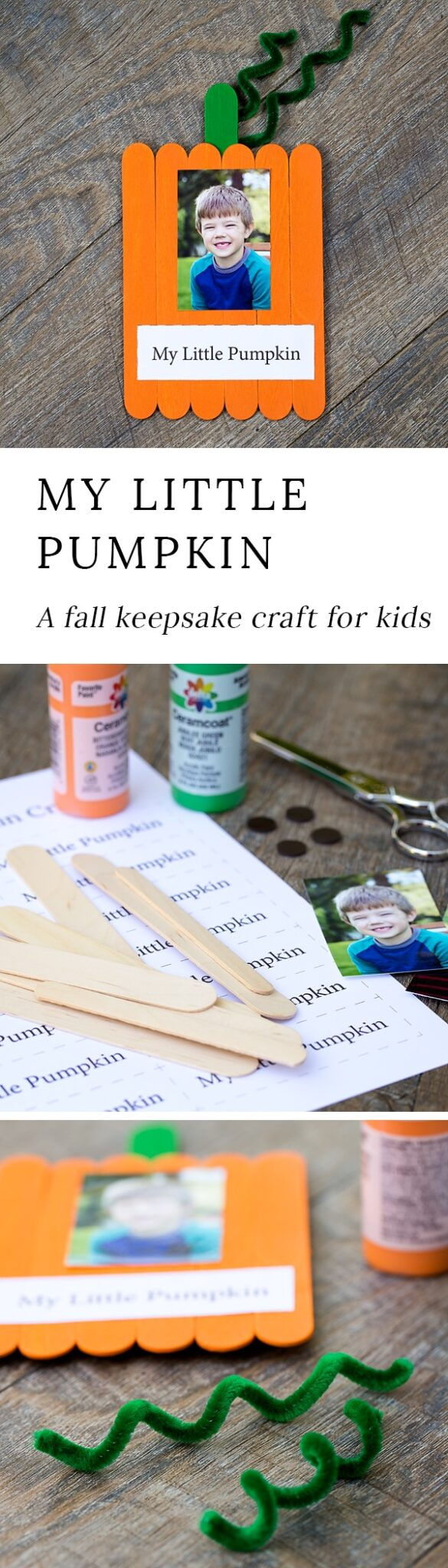 Just in time for fall, learn how to make an adorable Popsicle stick pumpkin keepsake with craft sticks, paint, and glue. #fallcrafts