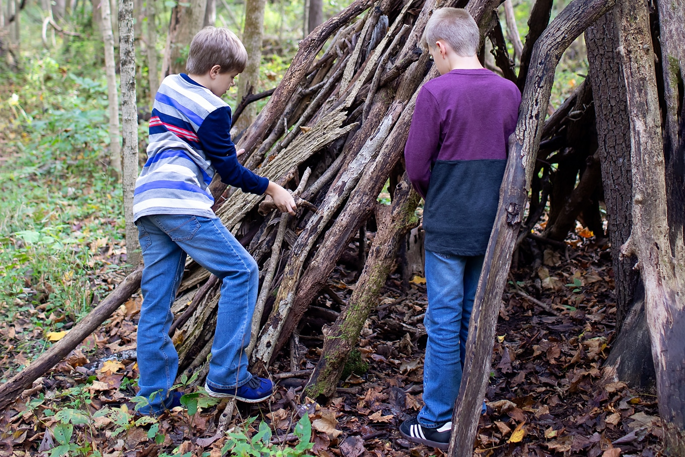 Children Building Forts in Nature