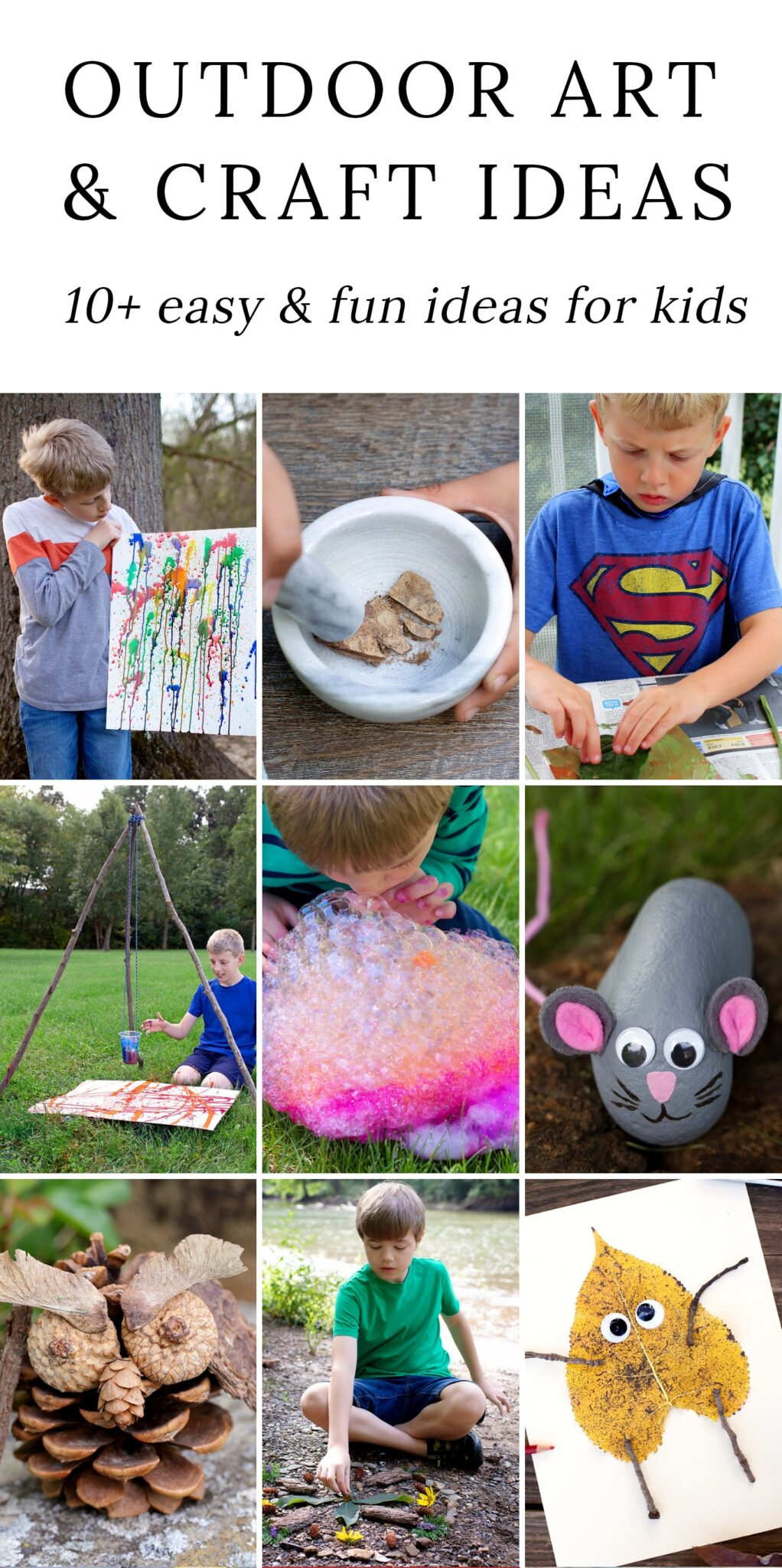 Discover creative and fun outdoor art ideas for kids! These awesome boredom-busting art projects are perfect for backyards, summer camp, preschool, and forest school…especially in the warm summer months when you want kids outdoors enjoying the beautiful weather. #outdoor #art via @firefliesandmudpies