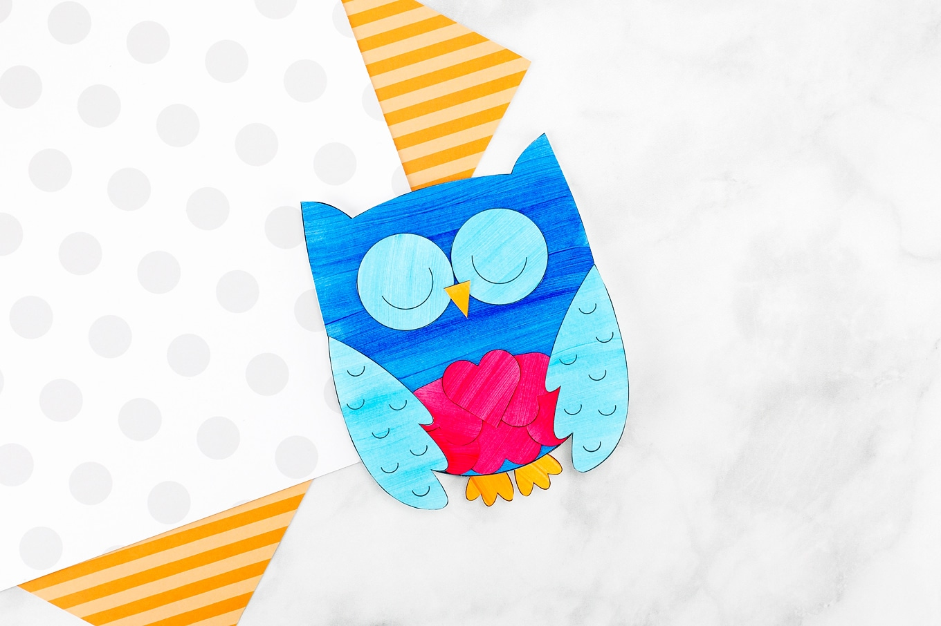 Blue Owl Valentine with Red Hearts