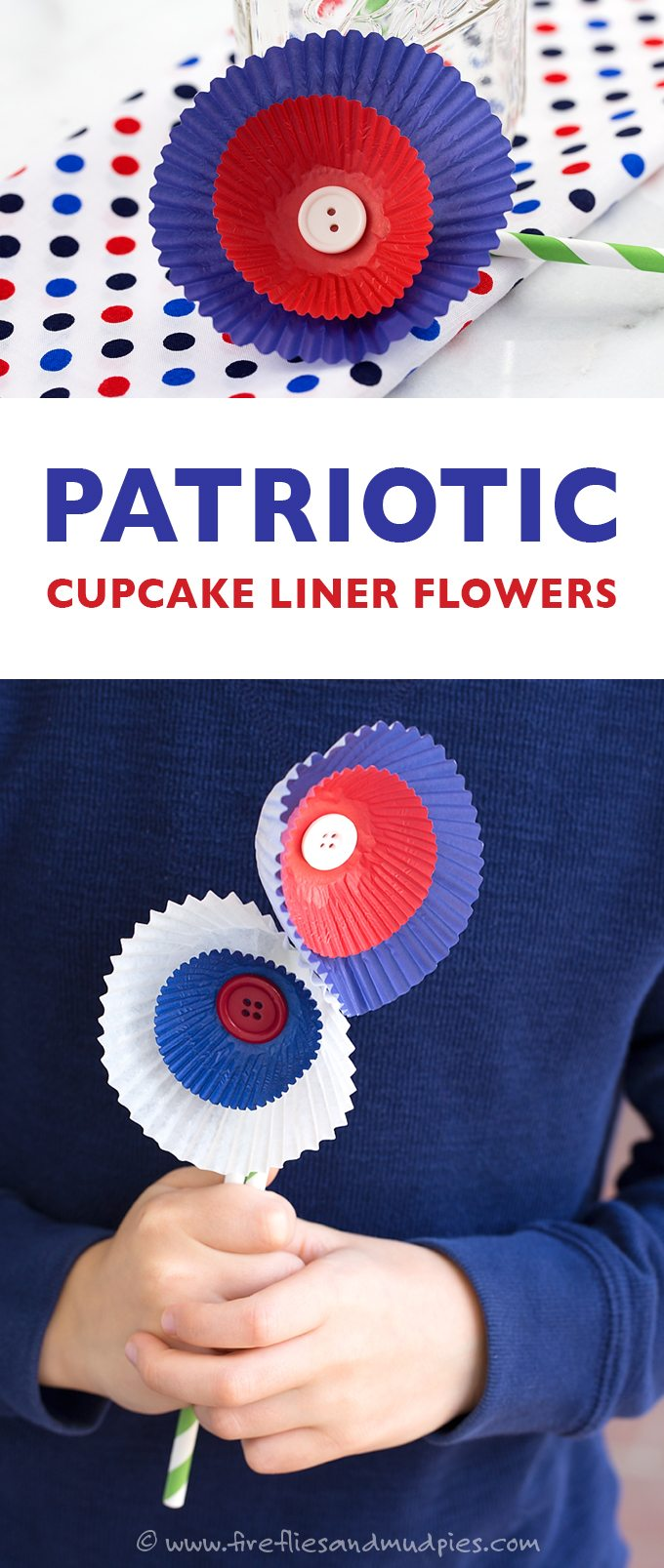 Patriotic Cupcake Liner Flowers are the perfect kid's craft for Memorial Day or 4th of July!