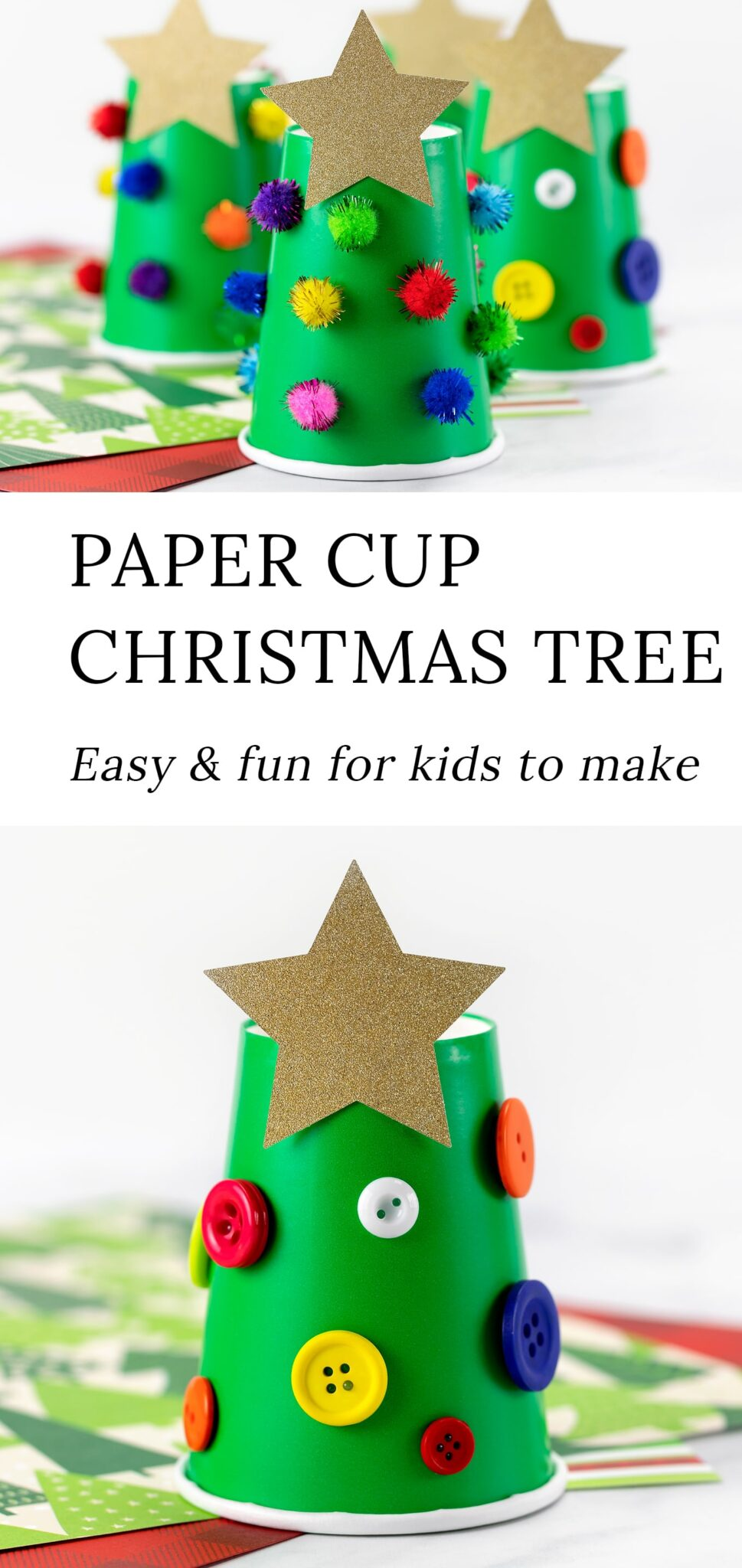 This easy, inexpensive, and cute Paper Cup Christmas Tree craft is perfect for school holiday parties, community programs, and home. Fun for ages 2 and up! #christmasornament #christmascraft #kids #christmastree #preschool via @firefliesandmudpies
