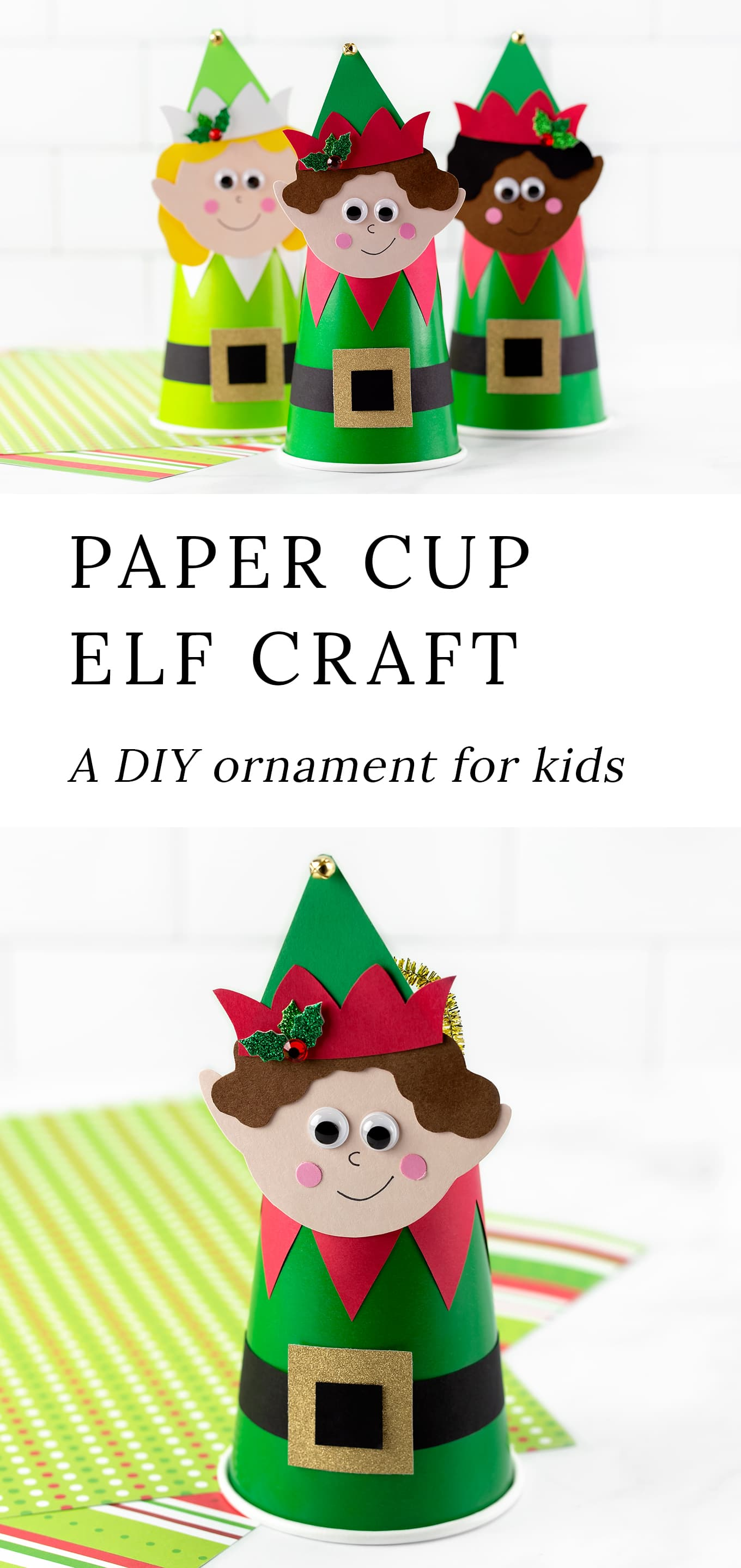 This easy, inexpensive, and fun Paper Cup Elf craft is perfect for school holiday parties, community programs, and home. Includes a free printable template and video tutorial. #papercupelf #elfcraft #christmas #kidscrafts via @firefliesandmudpies