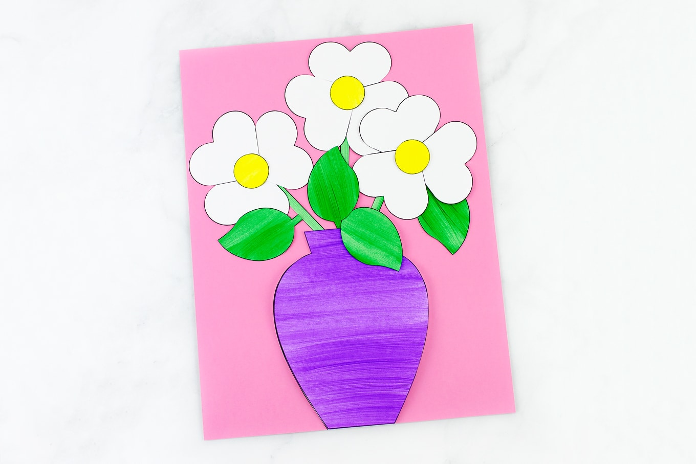 Easy and fun paper flower bouquet craft paper flower bouquet craft with purple vase and daisies mightylinksfo