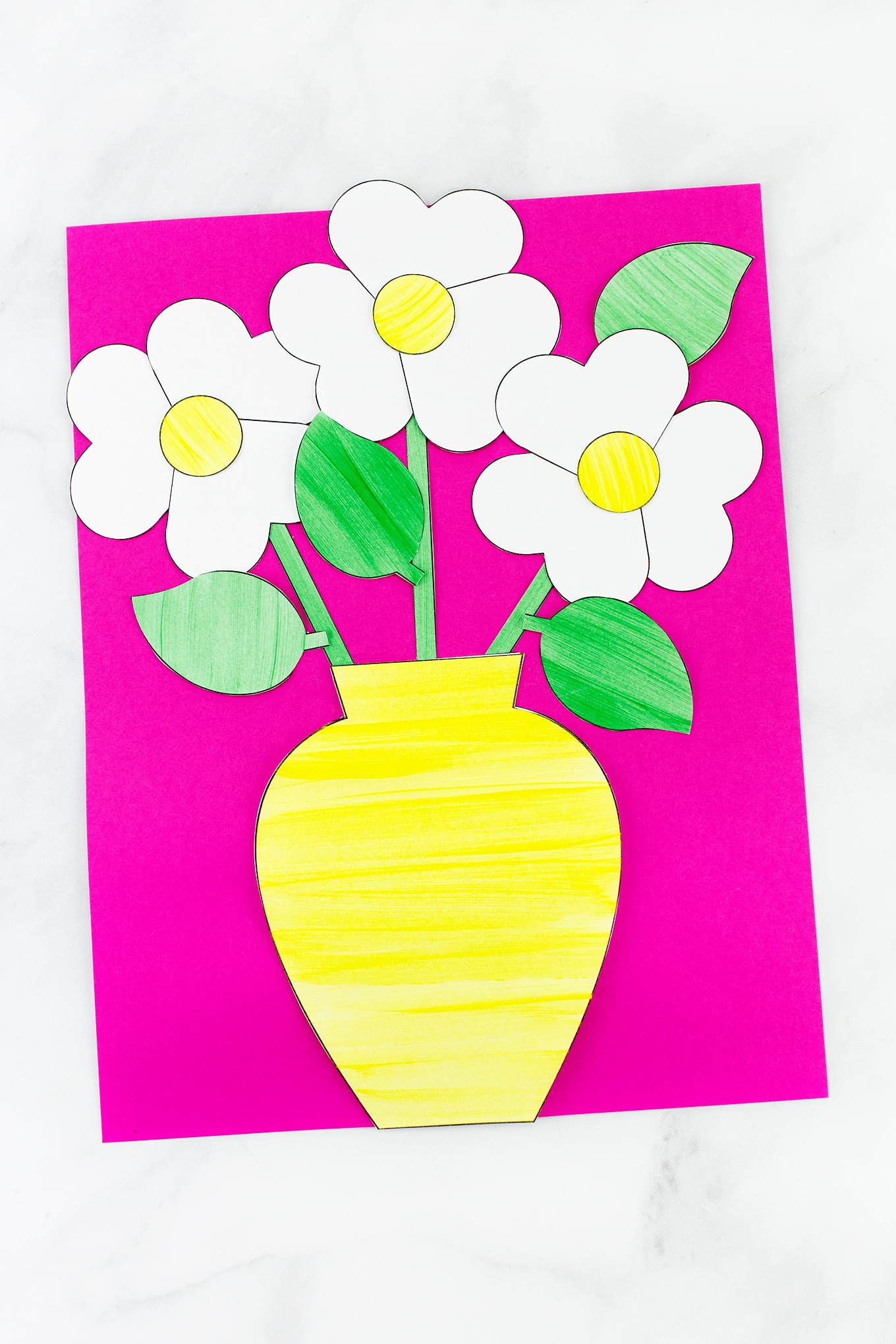Paper Flower Bouquet Craft for Kid with Yellow Vase and Daisies