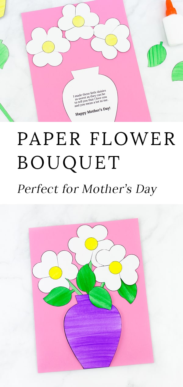 Just in time for spring, kids of all ages will enjoy creating a darling Paper Flower Bouquet Craft with paper hearts, paint, and, our easy printable template. This easy kids craft requires minimal supplies, making it perfect for home or school. #flowers #kidscrafts #preschoolcrafts