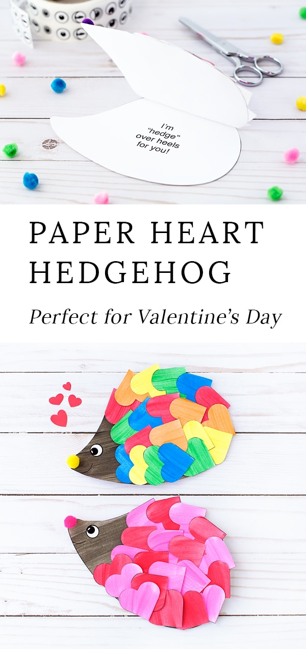 If you are looking for the sweetest hedgehog Valentine for kids, you've come to the right place! Kids of all ages will enjoy creating a happy hedgehog craft with hearts, paint, pom poms, and our printable hedgehog template. It's the perfect hedgehog craft for home or school! #hedgehog #craft #valentine via @firefliesandmudpies