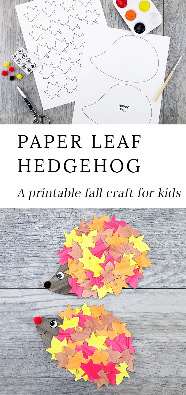 This cute paper leaf hedgehog craft is perfect for fall! Kids of all ages will enjoy using the printable hedgehog template at home or school. Such a fun autumn idea! #hedgehogcraft #fallcraft #kids via @firefliesandmudpies