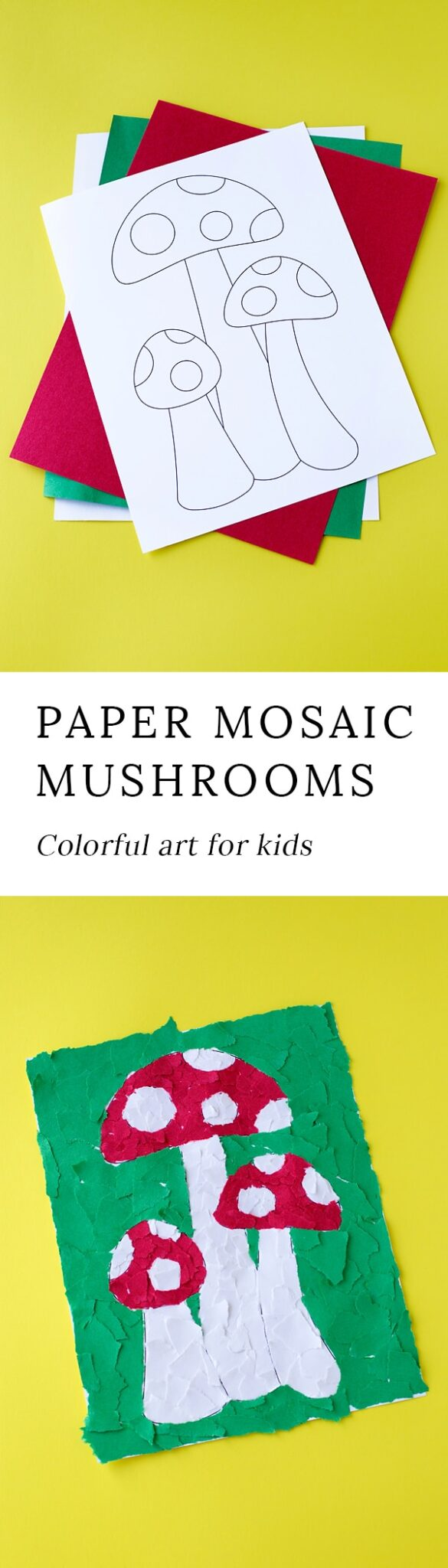 Tear fall colored construction paper into small pieces and glue - Kids Will Develop Fine Motor Skills And Have Fun While Using Our Printable Mushroom Template
