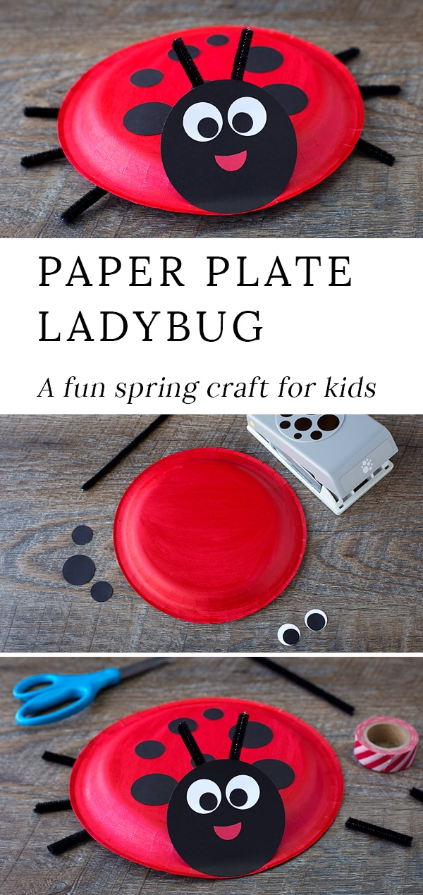 Learn how to make a simple Paper Plate Ladybug with kids. It's perfect for summer, insect lovers, and for strengthing fine-motor skills. #paperplatecraftsforkids #ladybugcrafts #easycraftsforkids