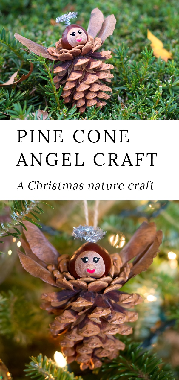 Pine Cone Angel Ornaments are a charming Christmas nature craft for kids. This ornament is simple, sweet, and fun for crafters of all ages. Best of all, it requires minimal materials, most of which are found on the forest floor. #christmas #naturecraft #kids via @firefliesandmudpies