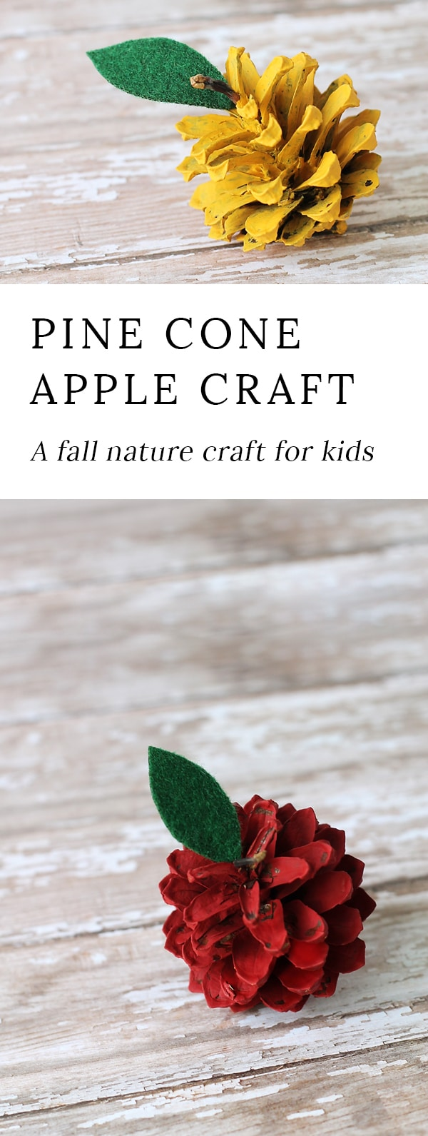 Kids of all ages will enjoy making rustic pine cone apples. They are a creative, colorful fall nature craft for kids!
