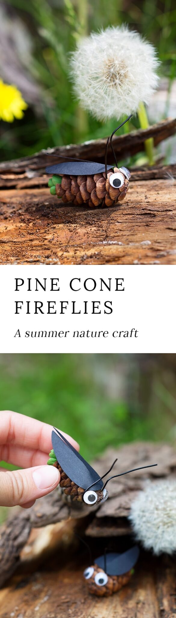 Learn how to make Pine Cone Fireflies from small pine cones, construction paper, and paint.It's an easy and fun summer nature craft for kids of all ages! #naturecrafts #pineconecrafts #fireflies #insectcrafts #easycraftsforkids #summercrafts #summernaturecrafts