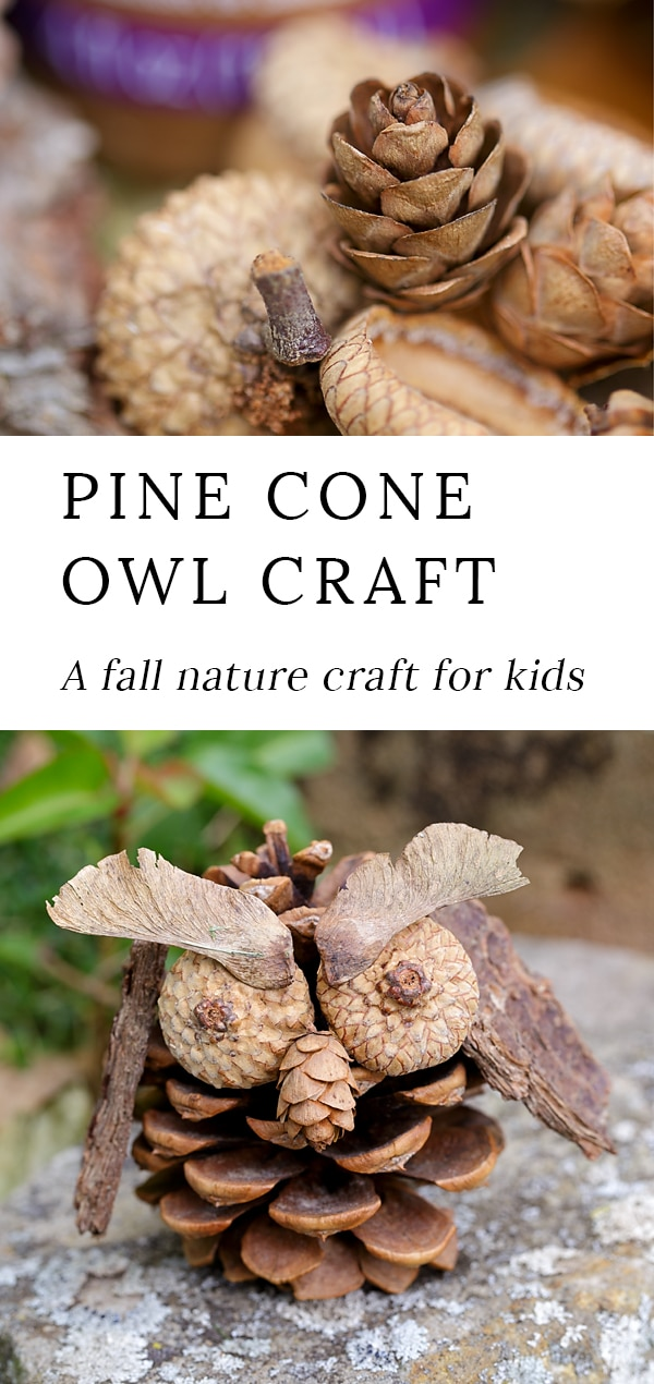 Kids of all ages will enjoy using acorns, pine cones, twigs, bark, and seeds to create unique Pine Cone Owls. It's the perfect fall nature craft for kids! #pineconecrafts #naturecrafts #owlcrafts #kidscrafts #easycraftsforkids via @firefliesandmudpies